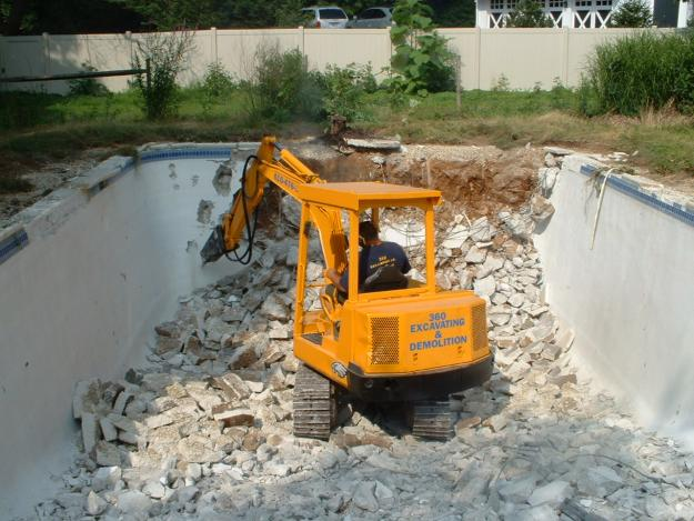 Pool Demolition - Danny's Bobcat Services